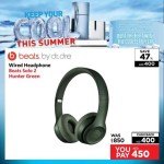 Beats solo 2 Hunter Green Wired Headphones Offer at Emax