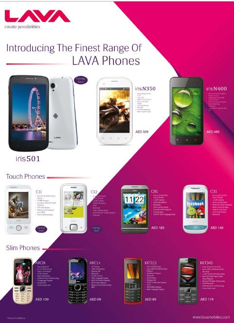 LAVA Mobile Phones at Sharaf DG Stores -