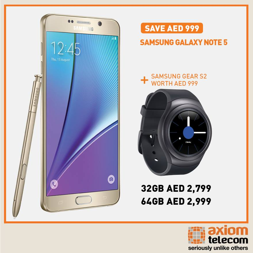 Samsung Galaxy Note 5 Awesome Offer at Axiom -
